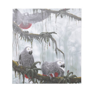 African Grey Parrots flying free Note Pad