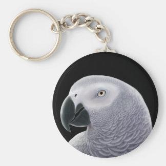 African Grey Portrait Key Chain