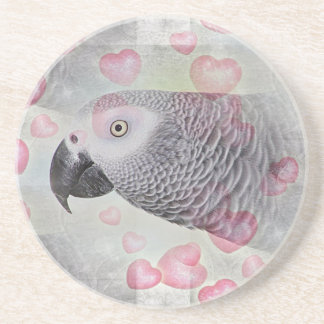 African Grey Puffy Hearts Drink Coasters