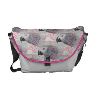 African Grey Puffy Hearts Courier Bag