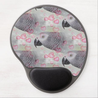 African Grey Puffy Hearts Gel Mouse Pad