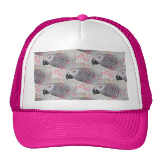 African Grey Puffy Hearts Trucker Hat