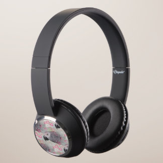 African Grey Puffy Hearts Headphones