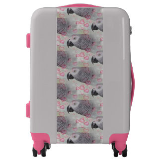 African Grey Puffy Hearts Luggage