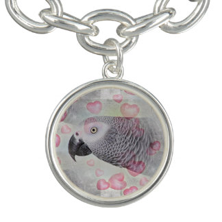 African Grey Puffy Hearts Bracelet