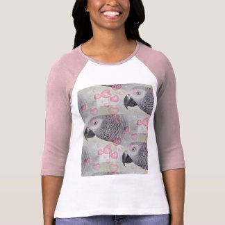 African Grey Puffy Hearts T-Shirt