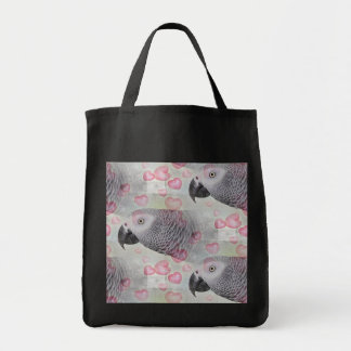 African Grey Puffy Hearts Tote Bag