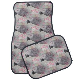 African Grey Puffy Hearts Floor Mat