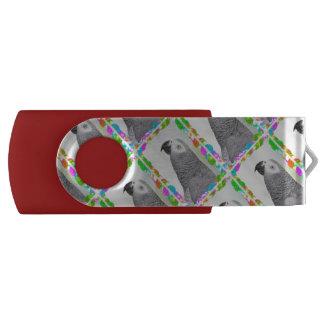 African Grey Snowy Christmas Swivel USB 3.0 Flash Drive
