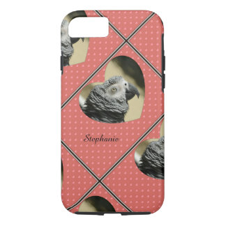 African Grey Vintage Hearts iPhone 8/7 Case