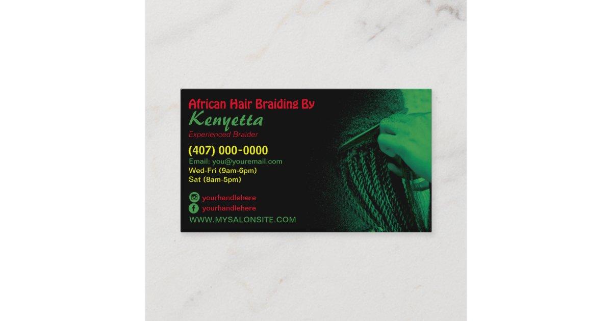 African Hair Braiding Business Card Template Zazzle Com