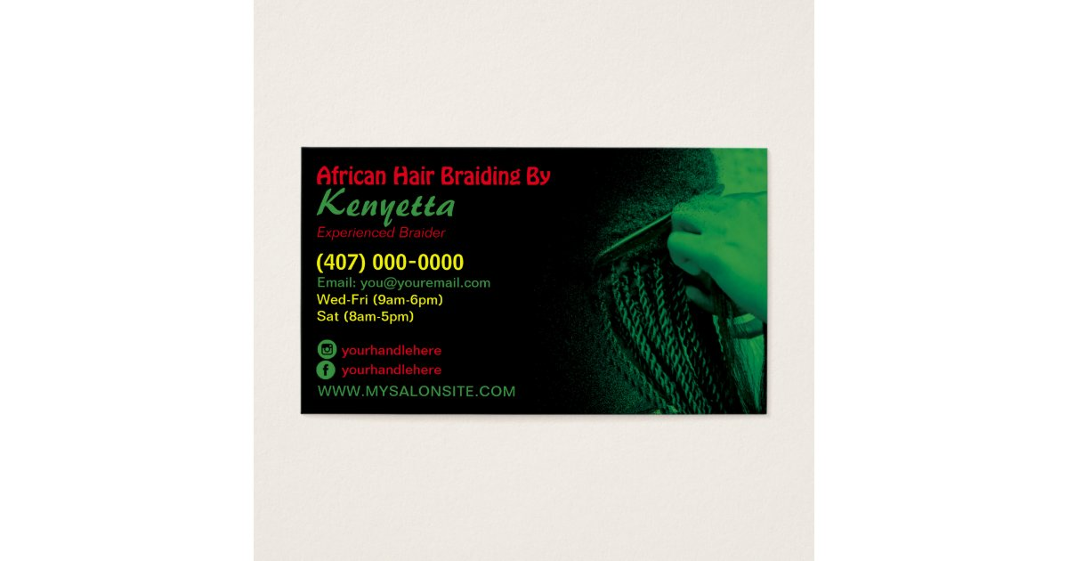 African Hair Braiding Business Card Template | Zazzle.com