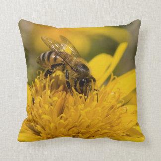 African Honey Bee With Pollen Sacs Feeding Throw Pillow