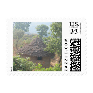 African Hut Horizontal Postage Stamp