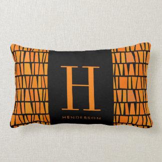 African Inspired Orange Domino Pattern Monogram Lumbar Pillow