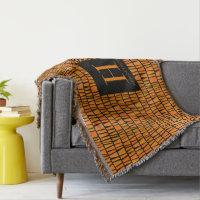 African Inspired Orange Domino Pattern Monogram Throw
