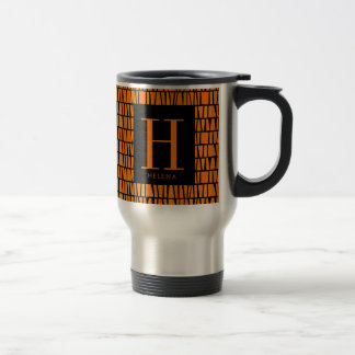 African Inspired Orange Domino Pattern Monogram Travel Mug