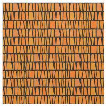 African Inspired Orange Domino Tribal Pattern Fabric