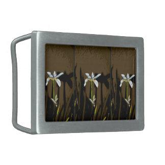 African Iris Fortnight Lily Flower Rectangular Belt Buckle