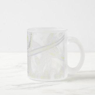 African Iris Frosted Glass Coffee Mug