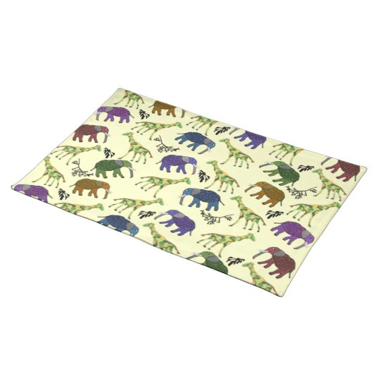 African Jungle Animals Cloth Placemat