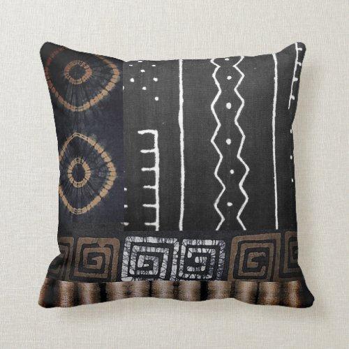 African Jungle Tribal Digital Pattern Print Throw Pillow