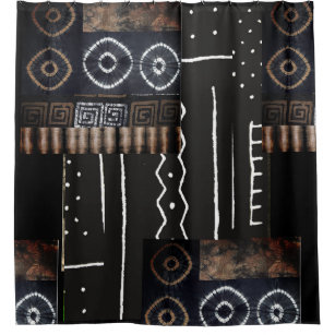 African Jungle Tribal Mud Cloth Graphic Shower Curtain