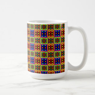 African Kente Cloth Print Stained Glass Pattern Coffee Mug