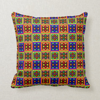 African Kente Cloth Print Stained Glass Pattern Throw Pillow