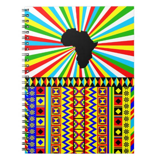 African Kente Cloth Tribal Print Pattern Colorful Spiral Note Book