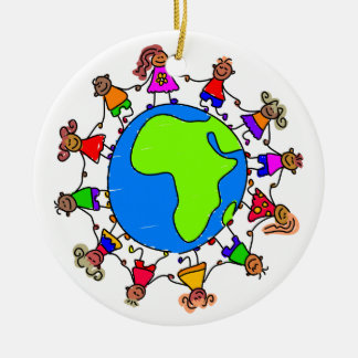 African Kids Double-Sided Ceramic Round Christmas Ornament
