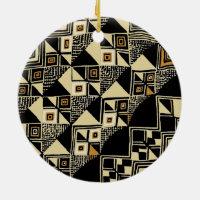 African Kuba Inspired Designs Ceramic Ornament