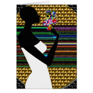 African lady at sunset with flowers card