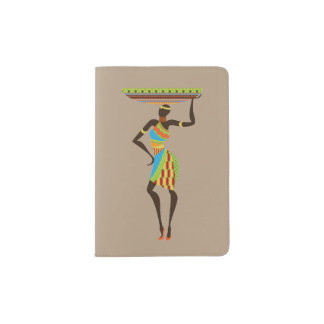 African lady with basket theme passport holder