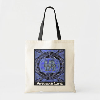 African life _ 3 ladies tribal statue, blue budget tote bag