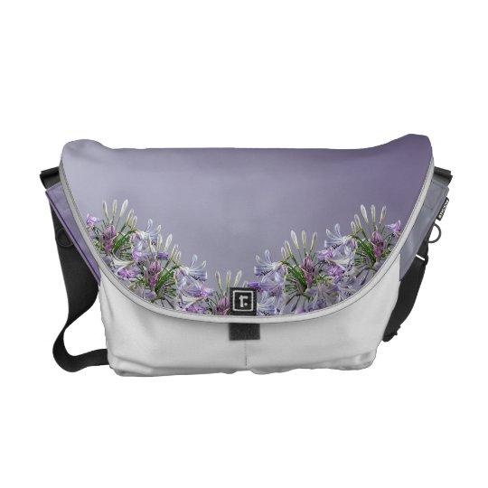 African Lily Flower on Lavender Messenger Bag