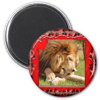 african-lion-00232 2 inch round magnet