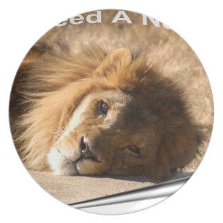 African Lion-7136--11x11fram Plate