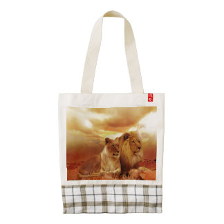 African Lion and Lioness Custom Zazzle HEART Tote