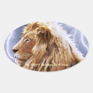 AFRICAN LION Big Five Cat Wildlife Heart Stickers