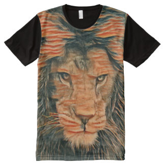 African Lion Colored Chalk Art Graphic Tee