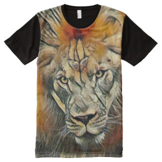 African Lion Colorful Charcoal Medium Art All-Over-Print Shirt