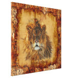 African Lion Egyptian Grunge Art Canvas Gallery Wrapped Canvas