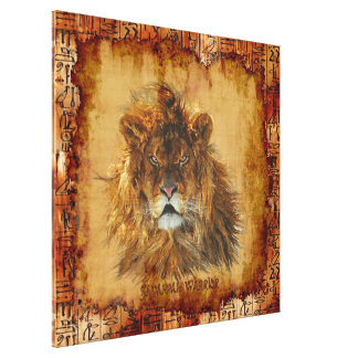 African Lion Egyptian Grunge Art Canvas Canvas Print