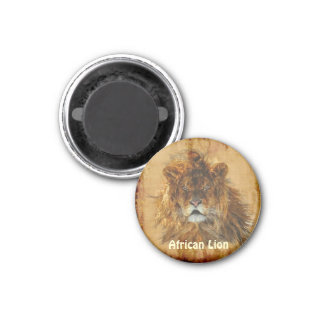 African Lion King of the Jungle Wildlife Art 1 Inch Round Magnet