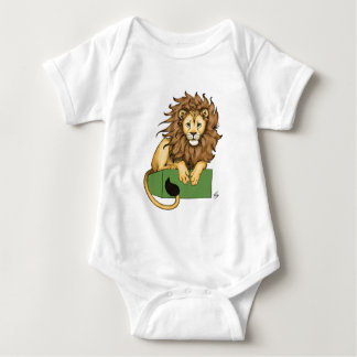 African Lion on a green box Baby Bodysuit