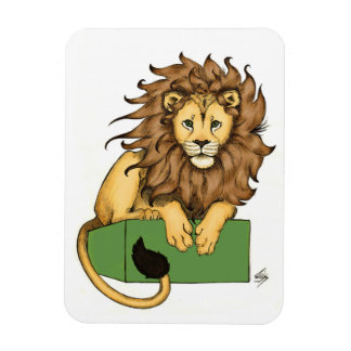 African Lion on a green box Rectangular Photo Magnet
