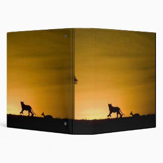 African Lion, Panthera leo, chasing gazelle 3 Ring Binder