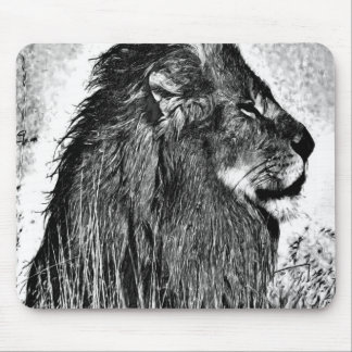 African Lion Pencil Drawing Mouse Pad