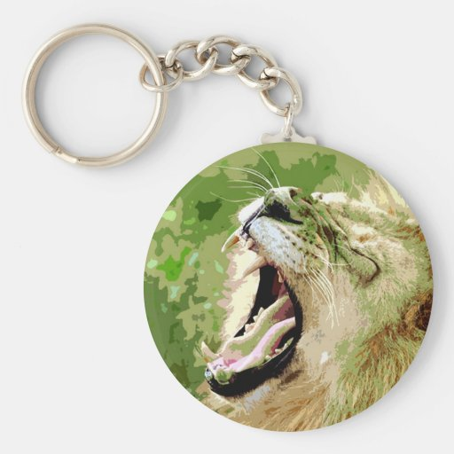 African Lion Roaring Key Chains